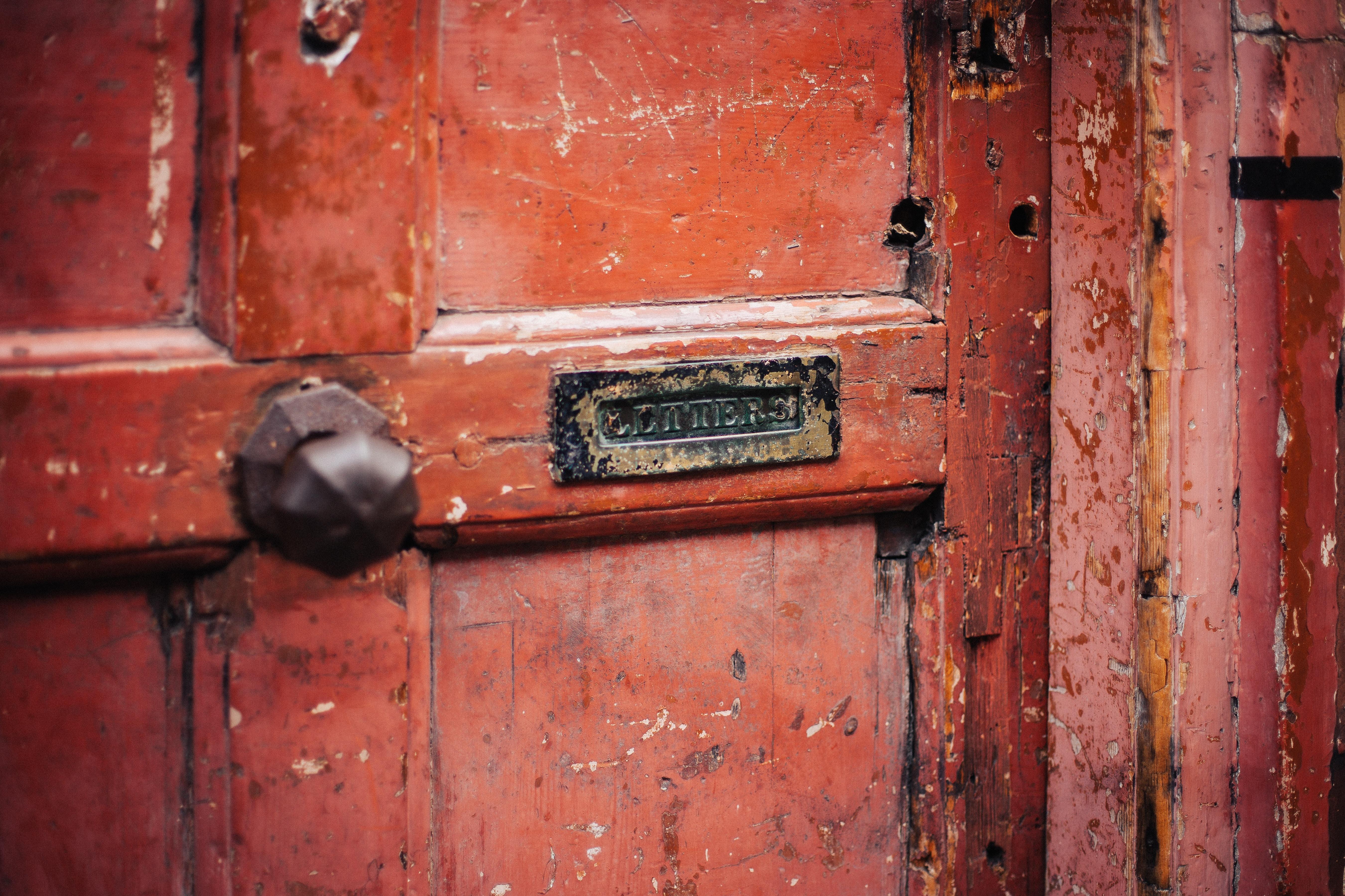 Red wood door. stories