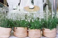 Wicker bag planters