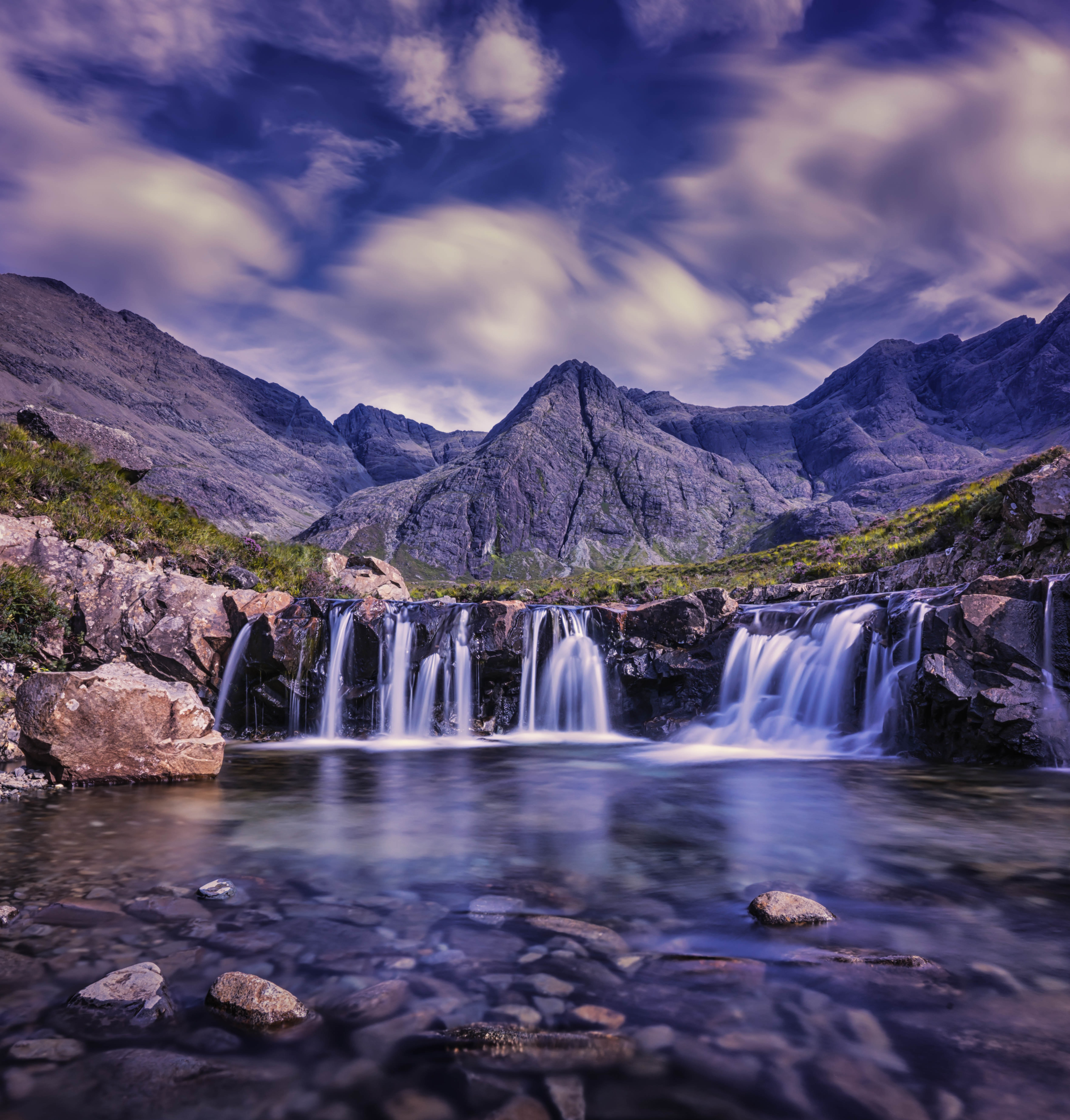 waterfalls under cloudy sky