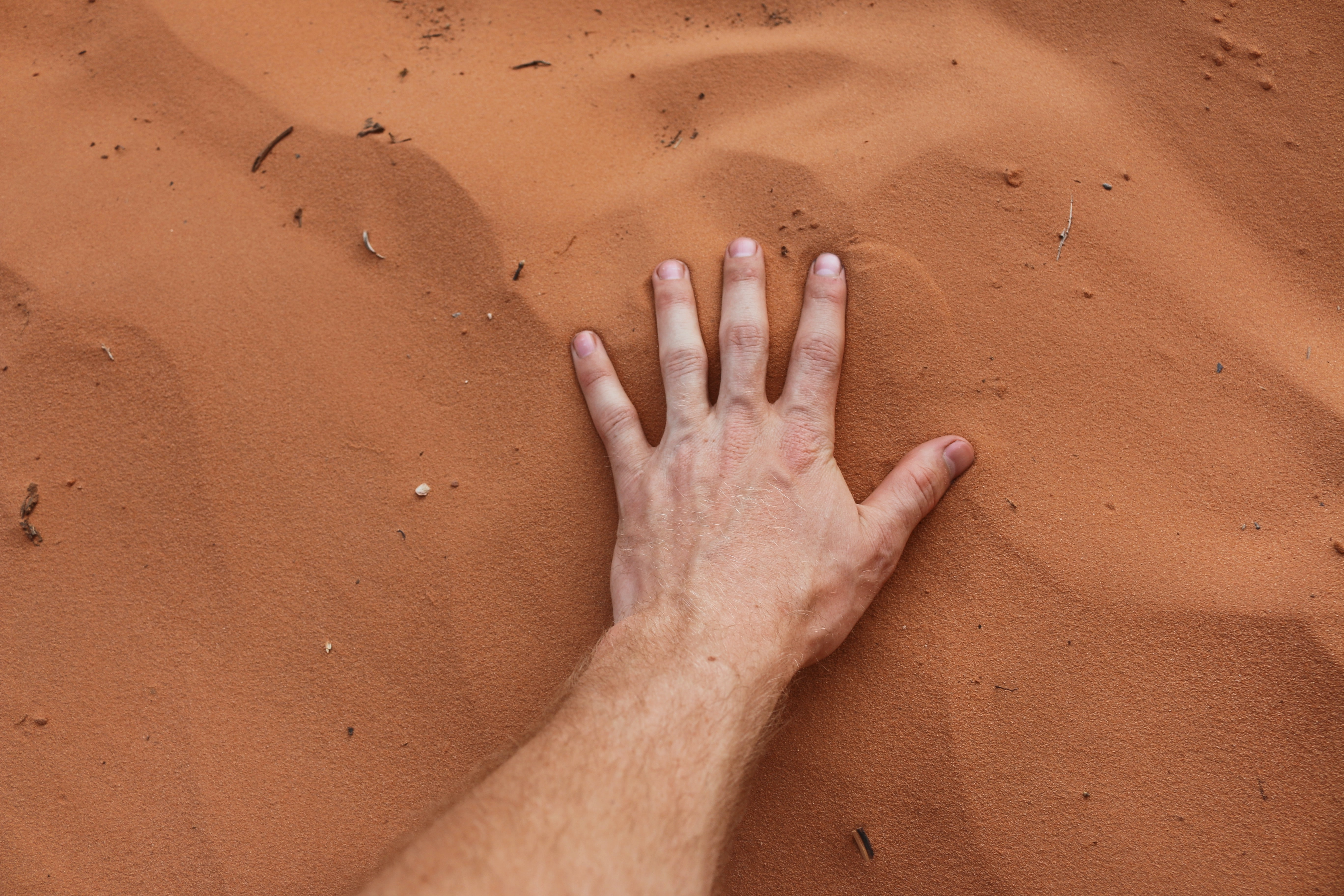 A person placing their hand on sand.