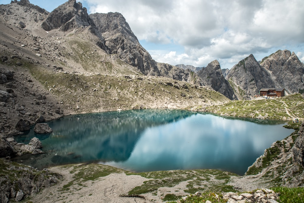 landscape photography of lake surrounded with mountains