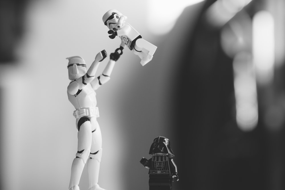 focused photo of a Star Wars character