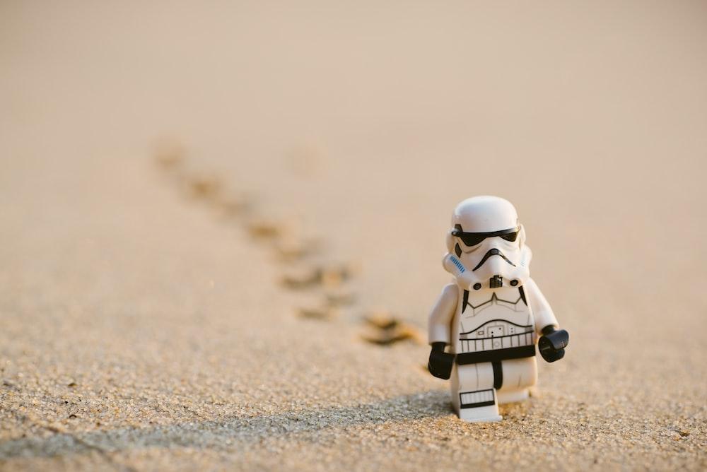 Stormtrooper minifigure walking on the sand