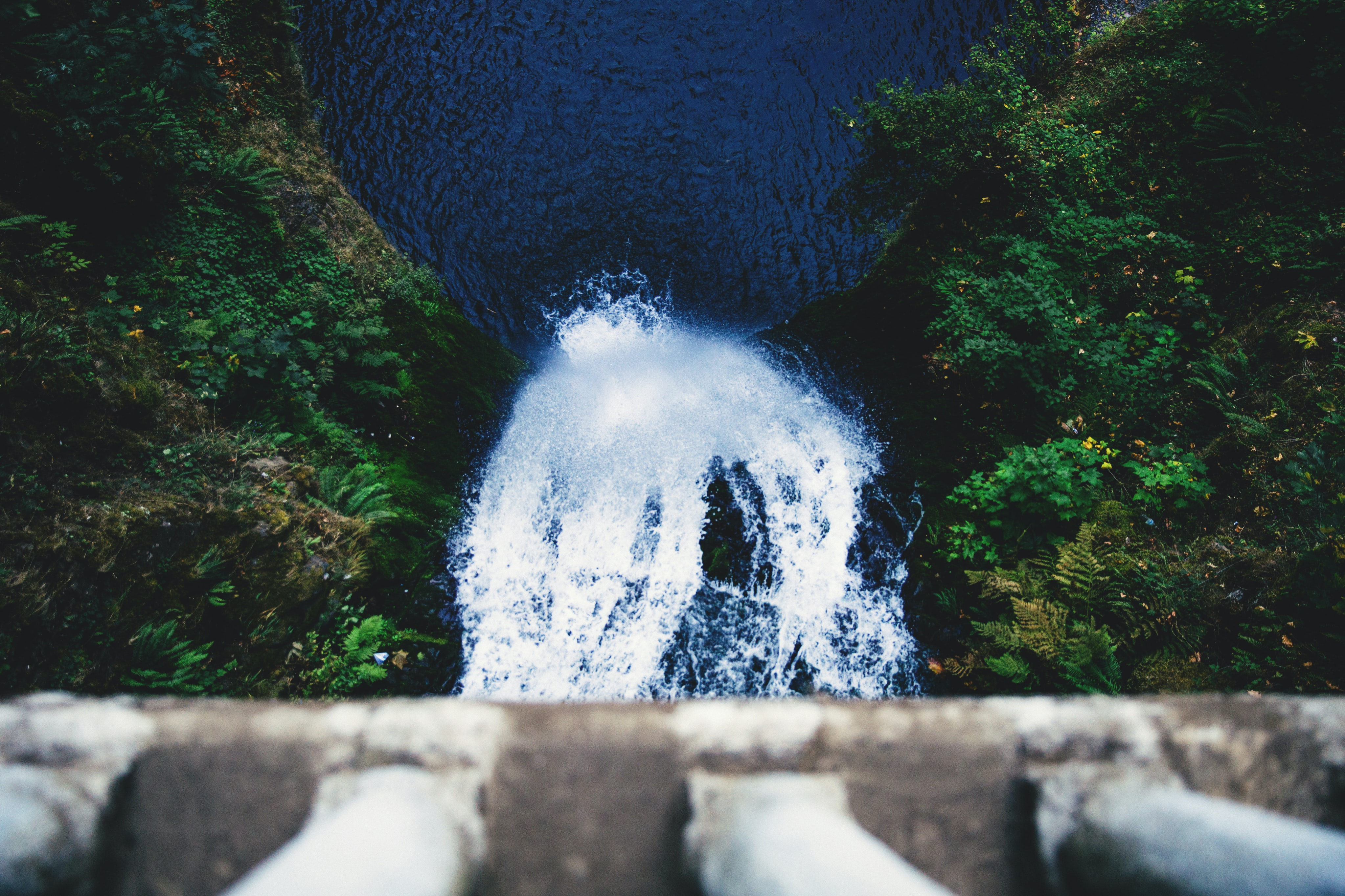 Aerial view of gushing waterfall surrounded by trees underneath bridge at Multnomah Falls