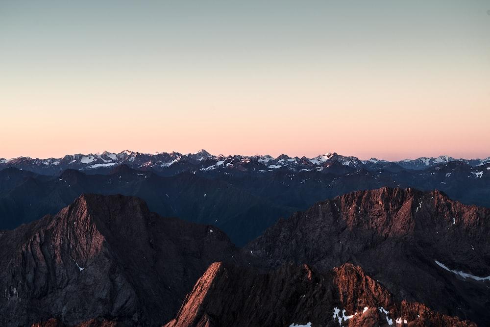 bird's eye view of brown stone mountain