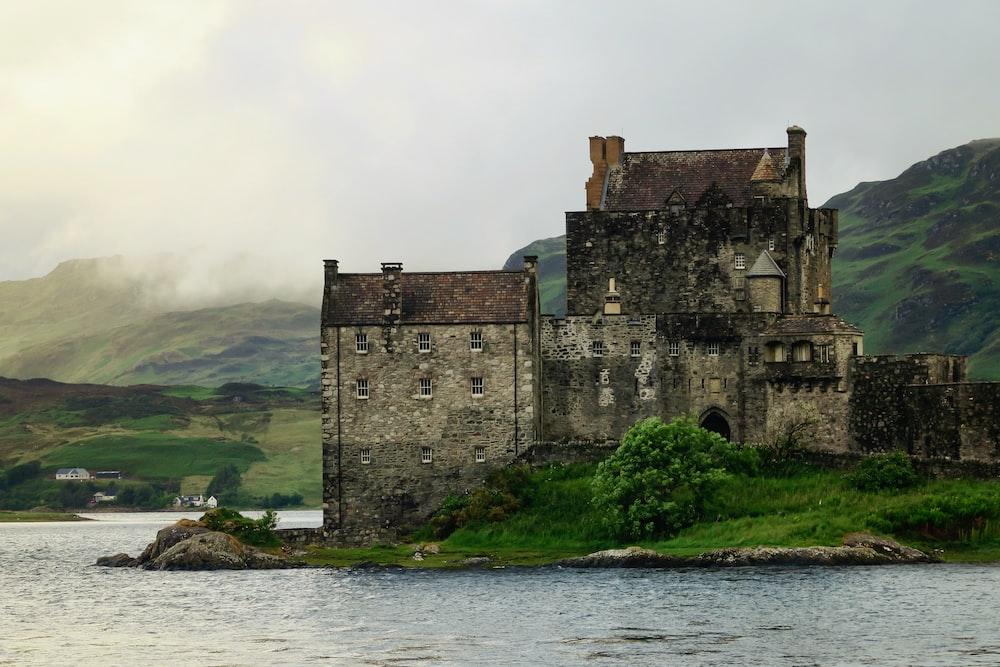 gray castle on shore