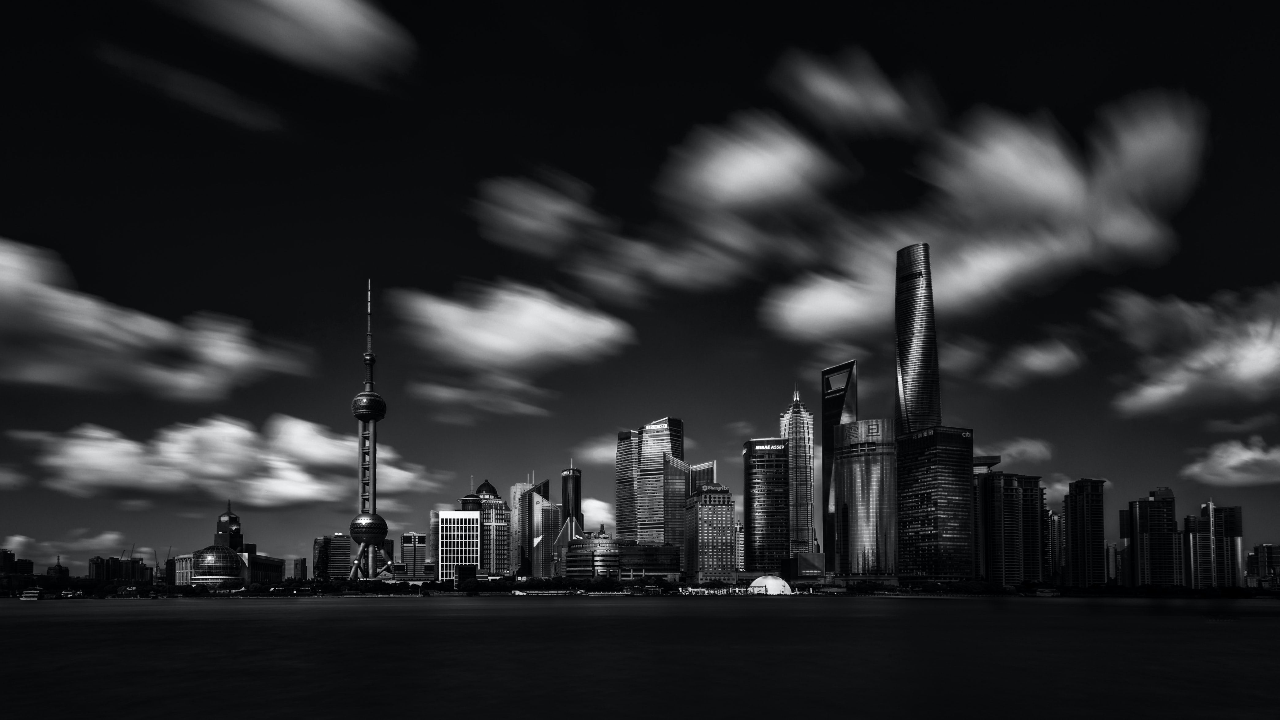 gray scale photography Oriental Pearl Tower and buildings