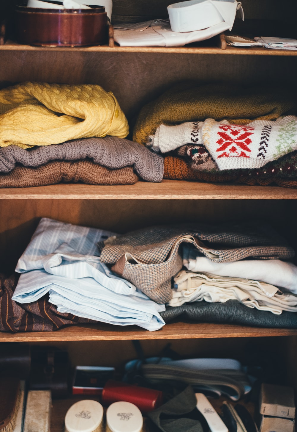 clothes lot on shelf