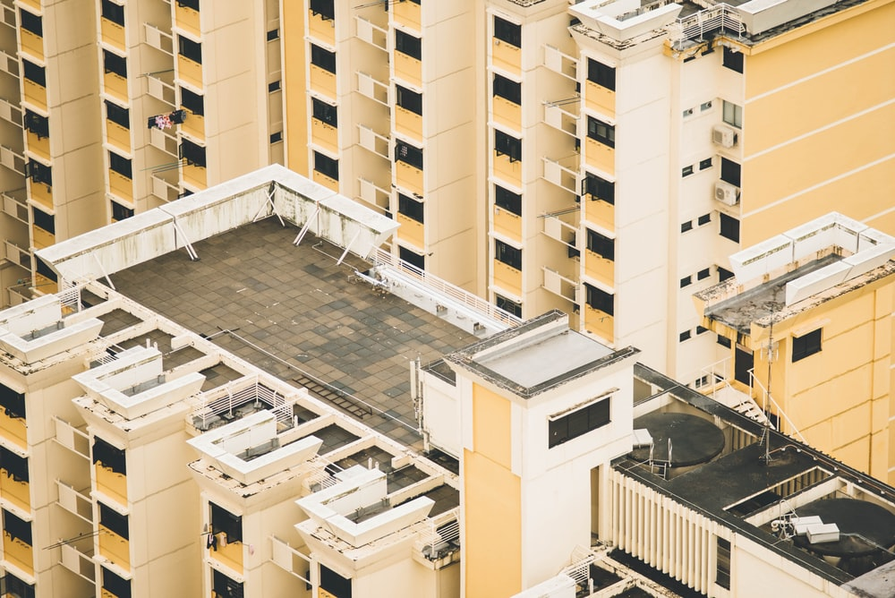 aerial view of white and black rooftop