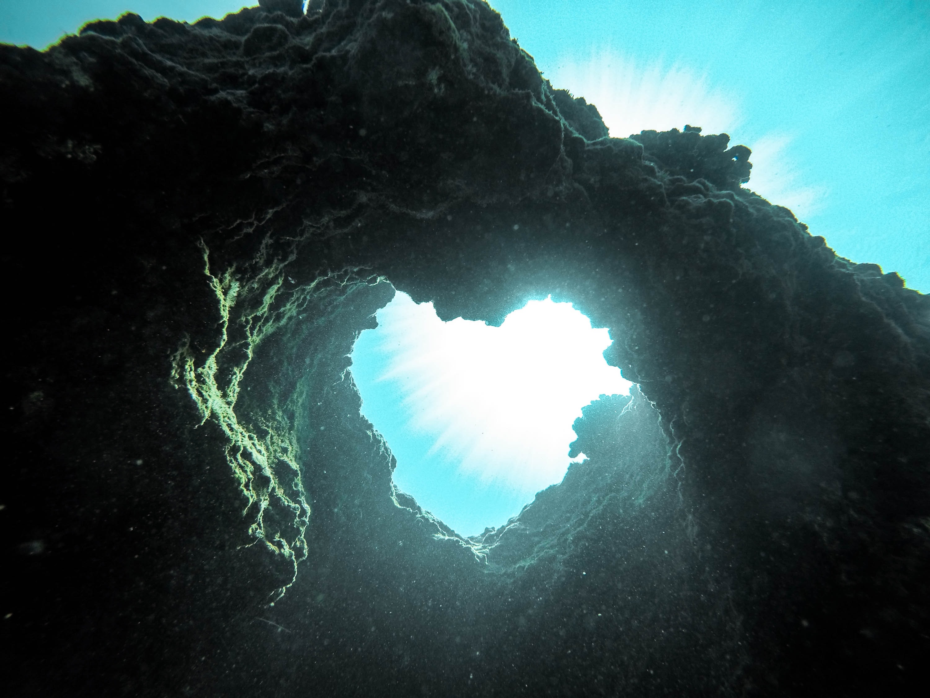 A heart shaped underwater rock formation.