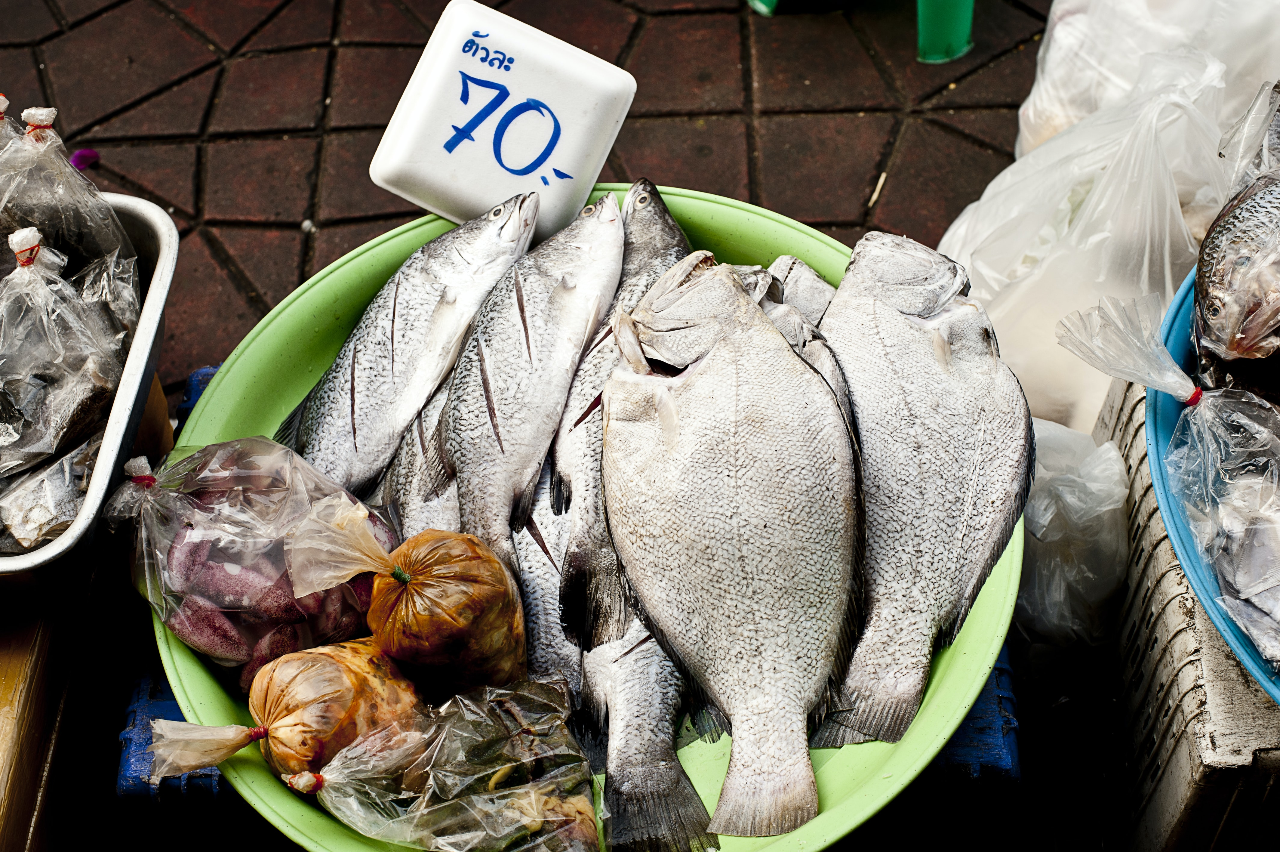 Fish in a large bowl at a fishmonger's stall at a fish market