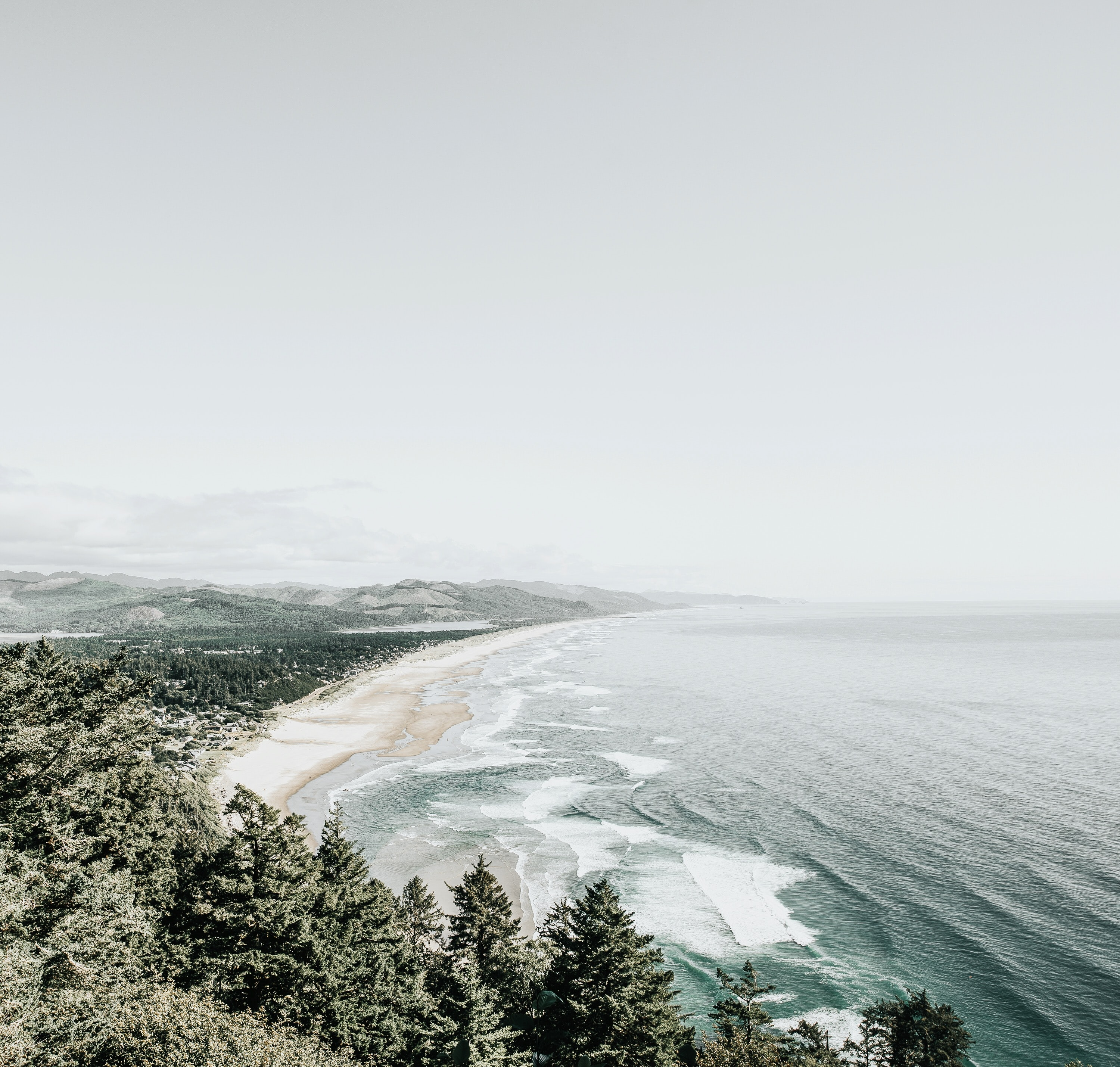 A snow covered, tree-lined shoreline with the sea's waves lapping the beach at Oregon