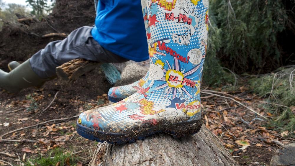 pair of multicolored rain boots