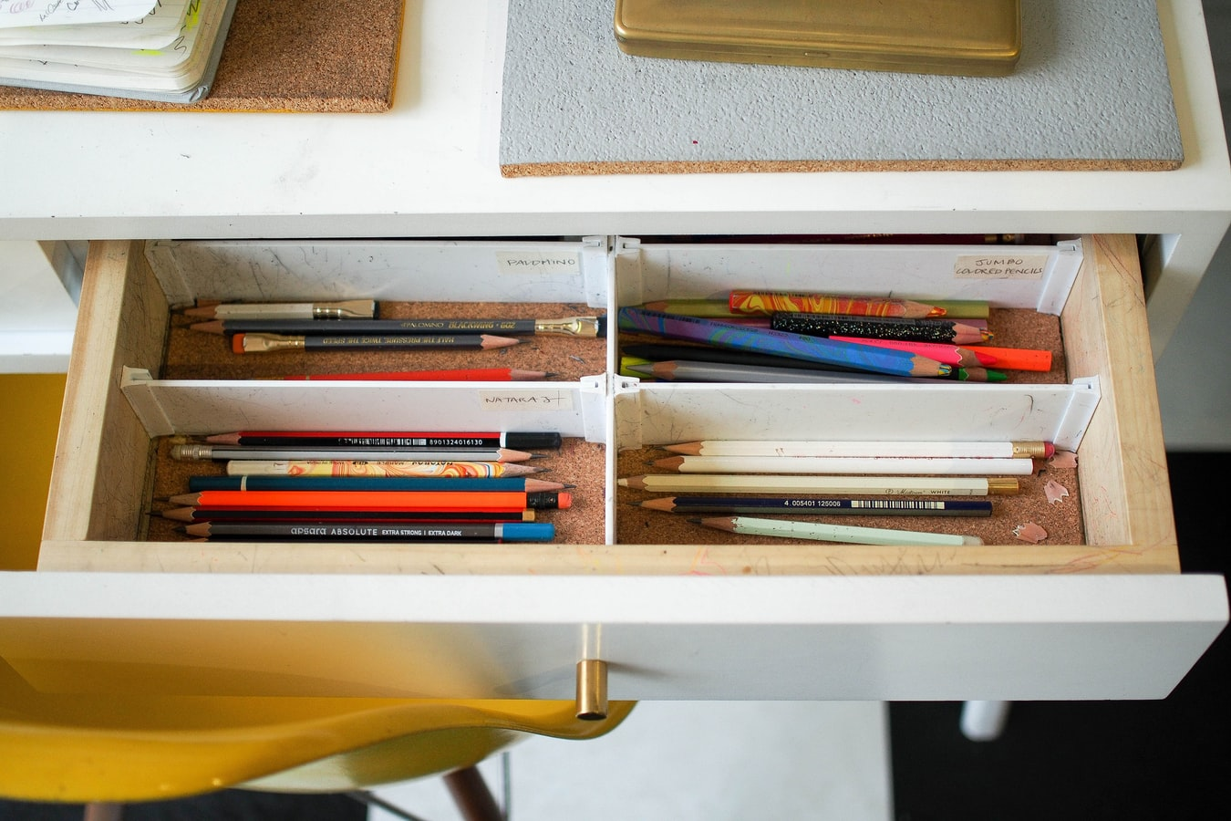 Desk with pencils