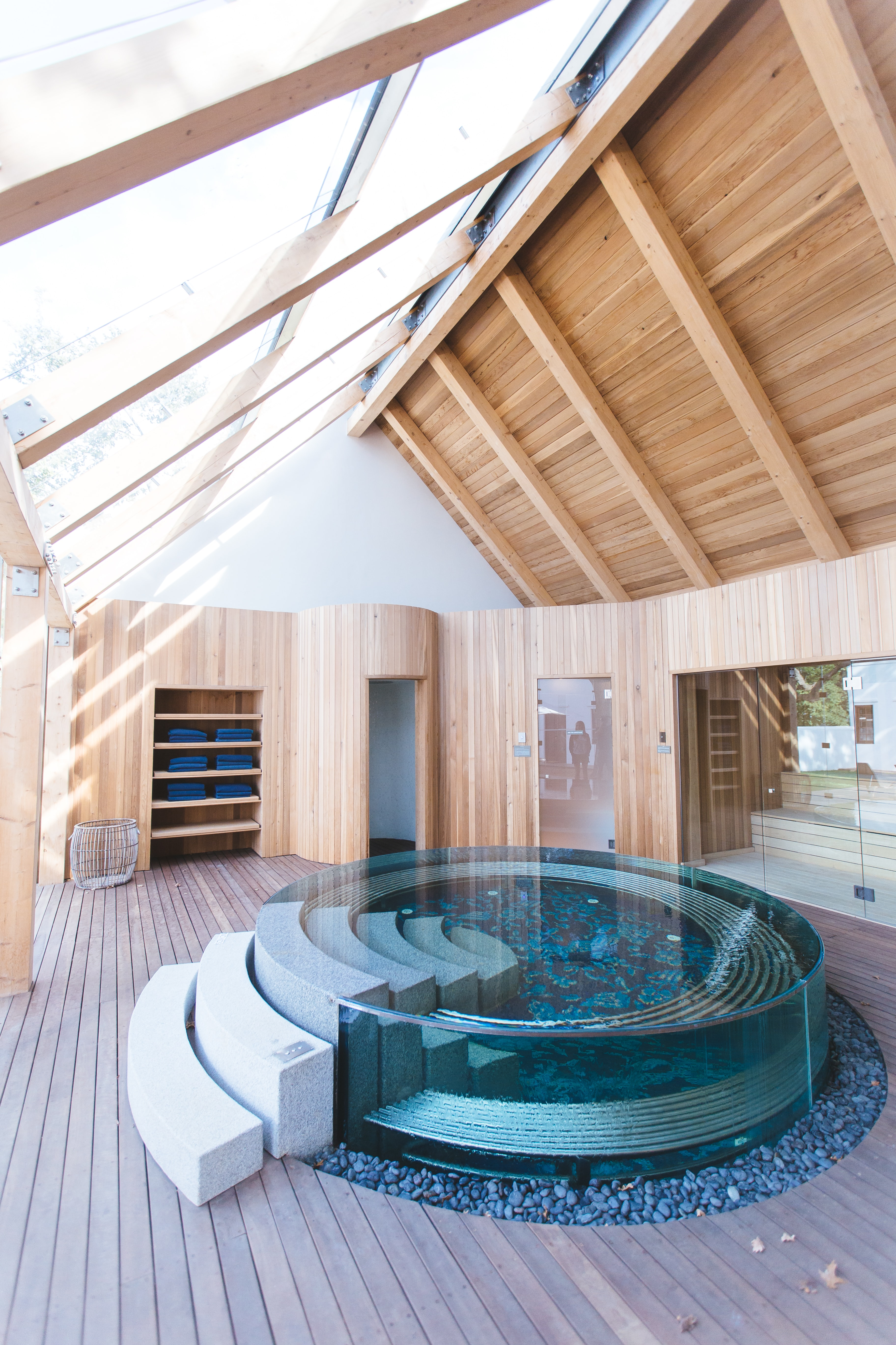 A beautiful indoor spa tub fit for six people.