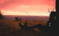 silhouette of person sitting on green grass during golden hour