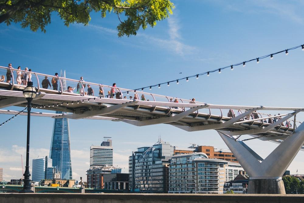 photo of people walking on bridge