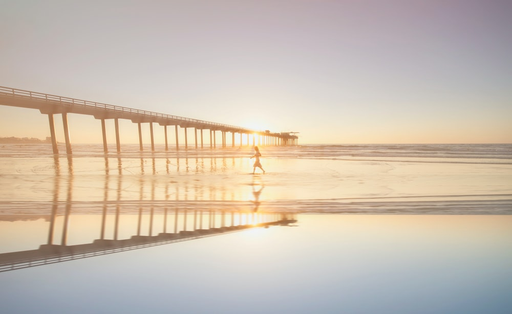 person walking on sea near bridge during daytime