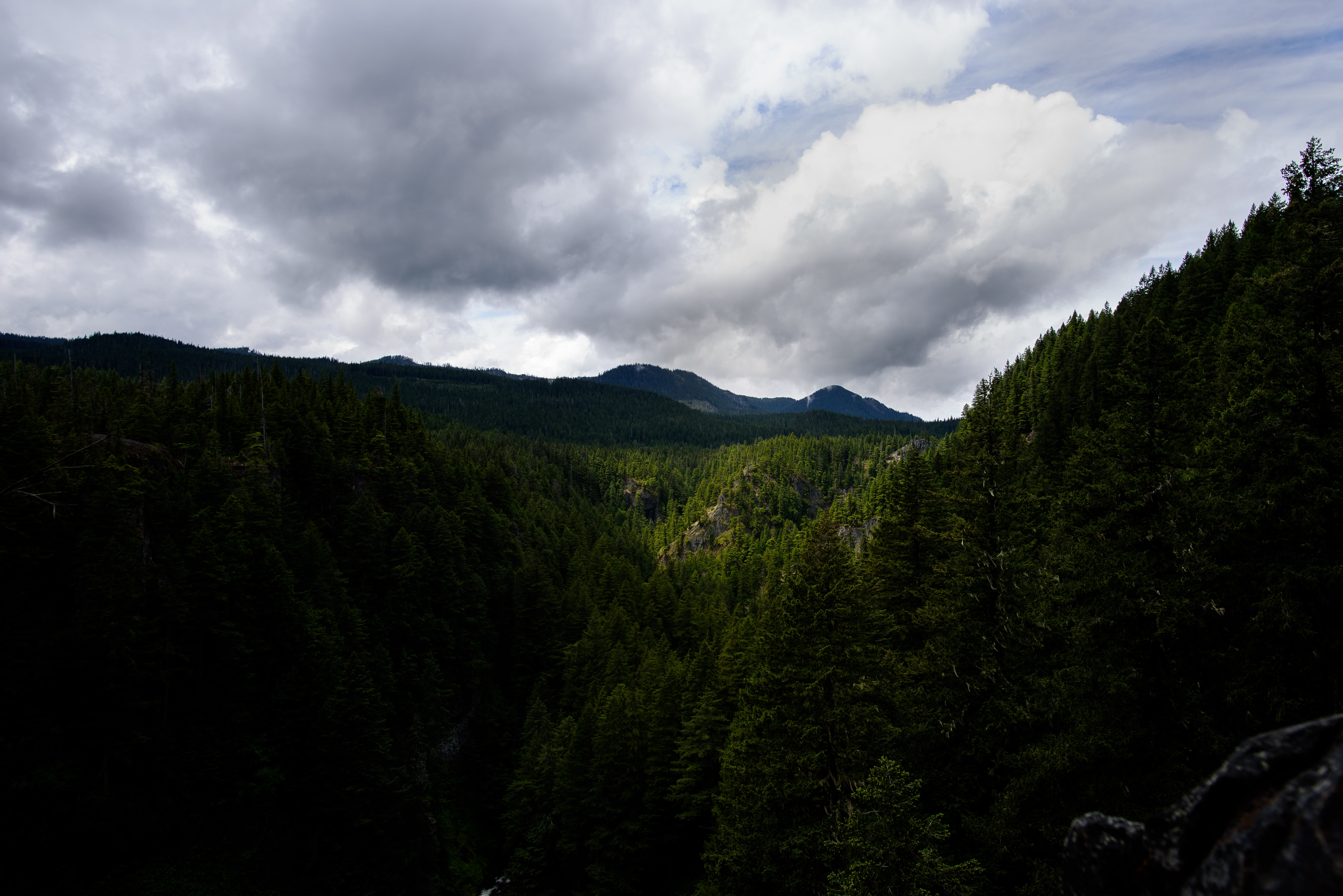 A wooded valley with mountains on the horizon on a cloudy day