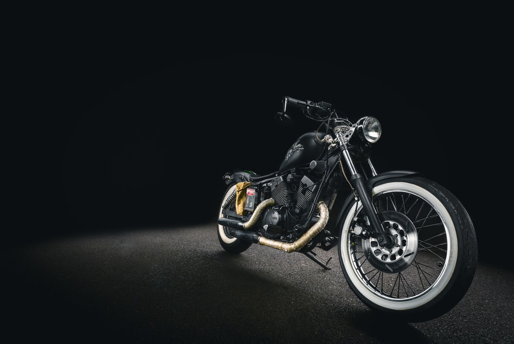 black bone motorcycle on black background