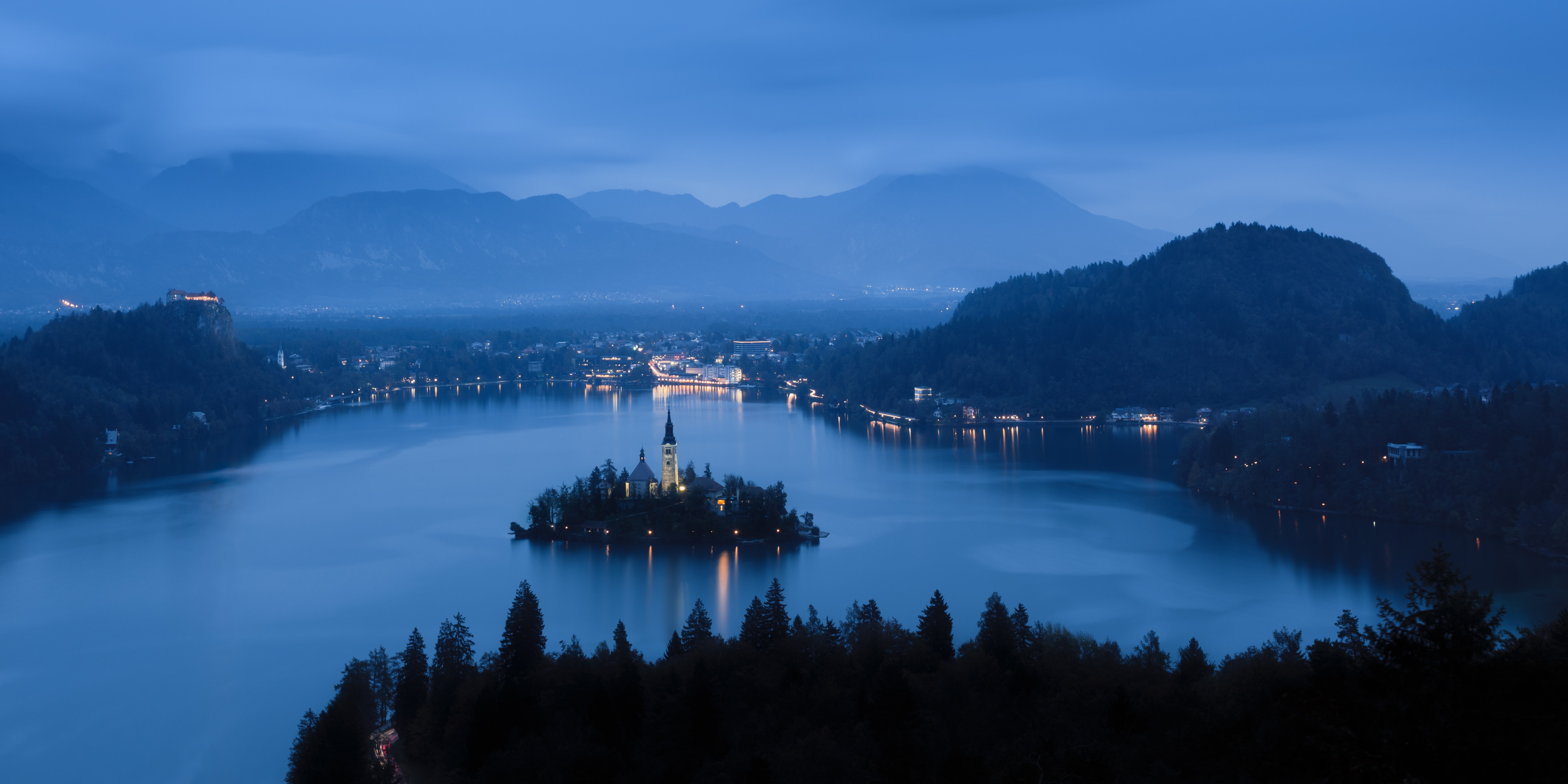 Aerial view of Lake Bled shoreside at night