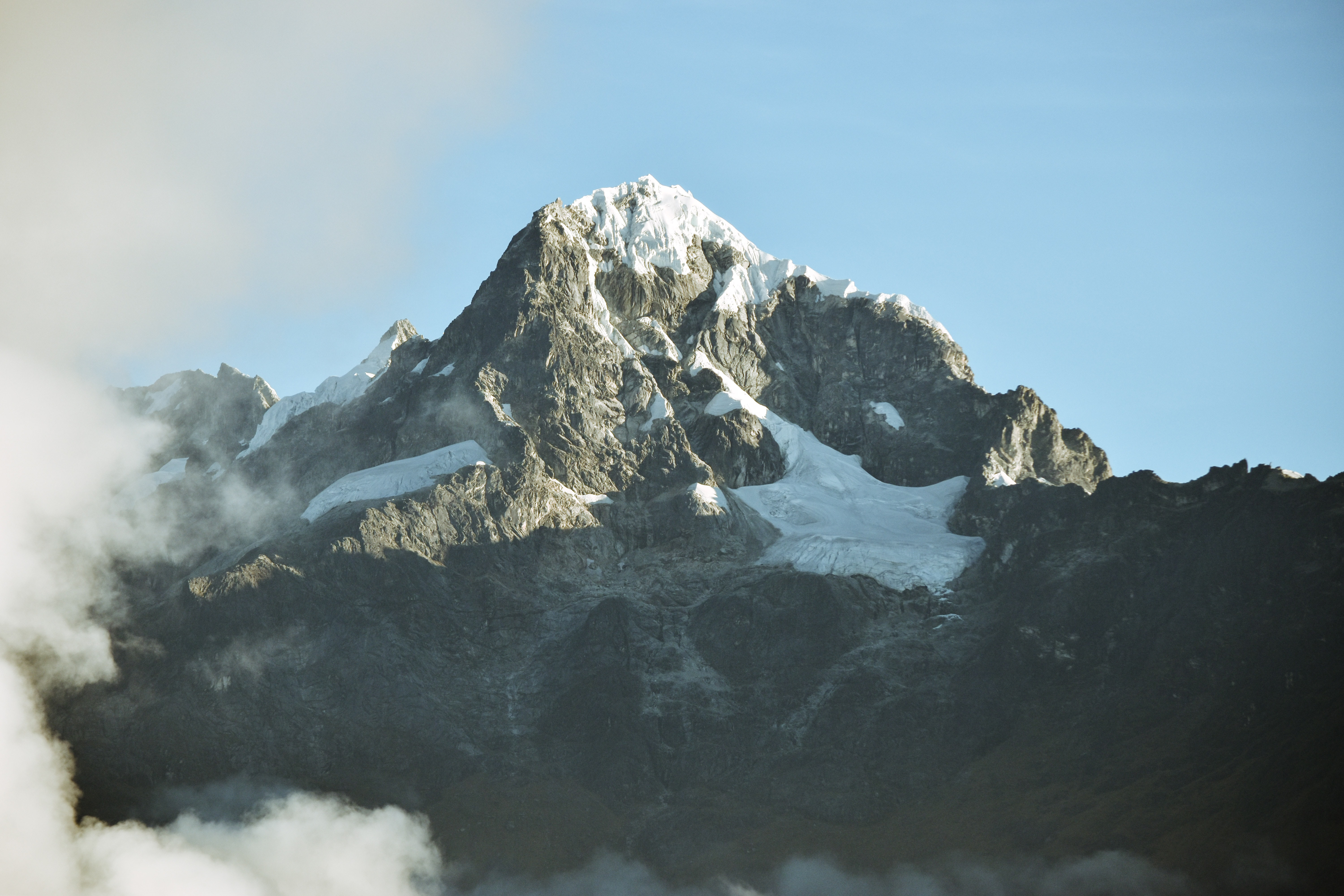 Snowy summit of a mountain in Inca Trail
