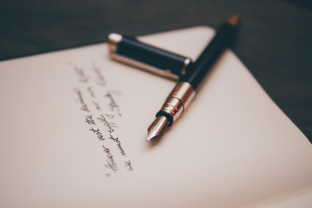 black and silver fountain pen