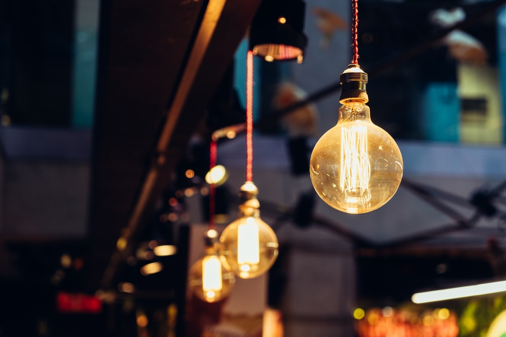 selective focus of lighted light bulbs