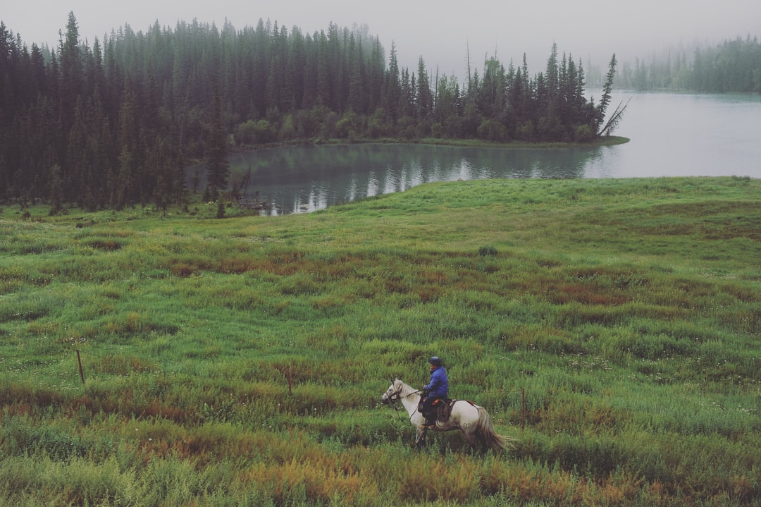 On horseback by the lake