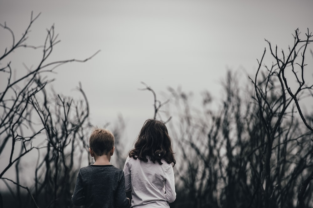 boy and girl surrounded by trees