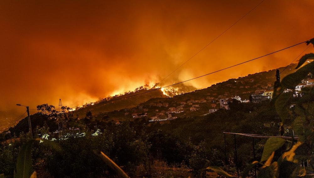 burning building at nighttime