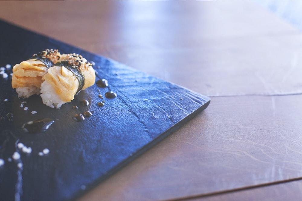 food on black plate