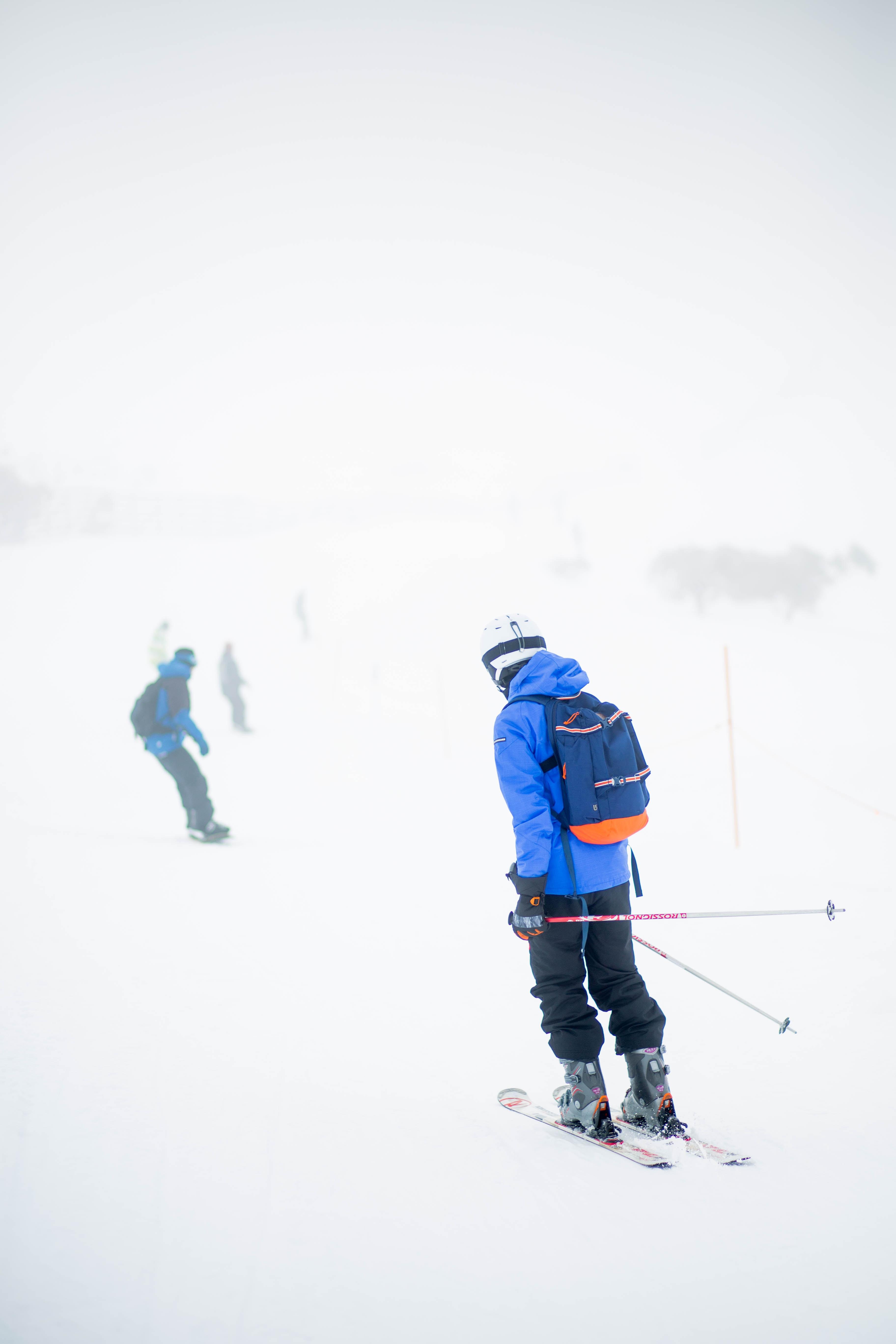 man skiing on ice