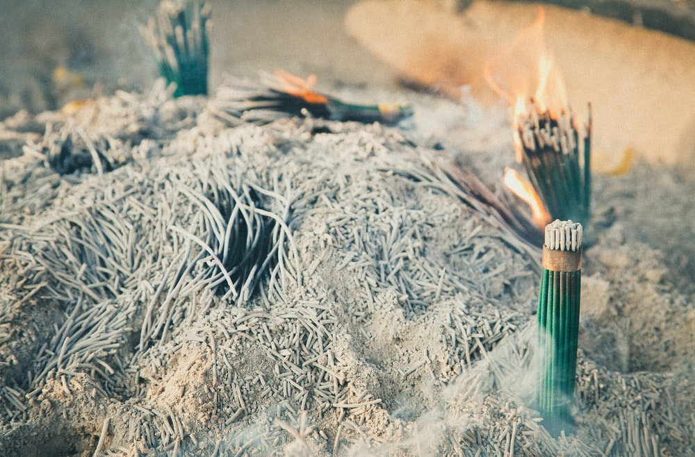 green incense burning