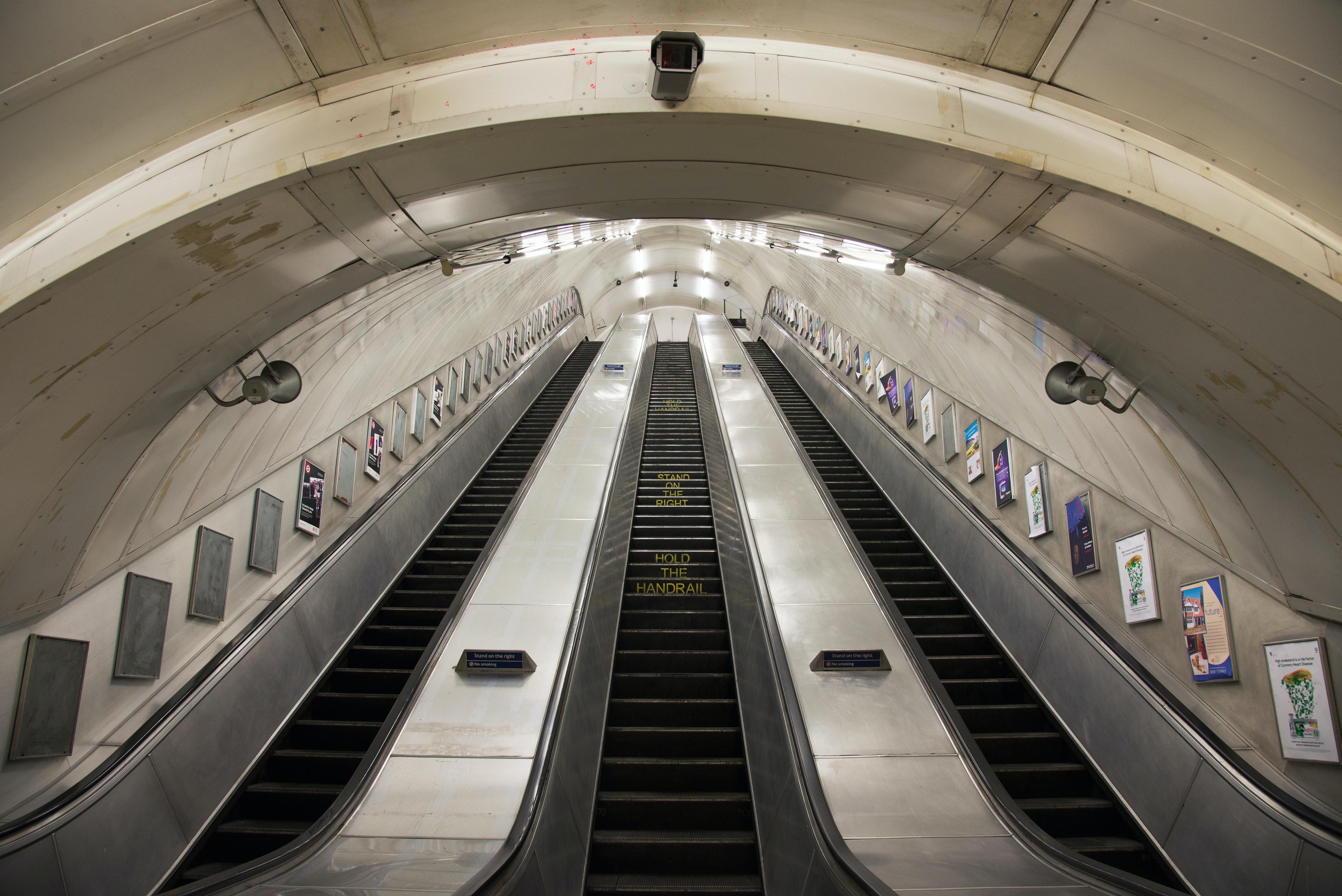 worm's eye view of escalator