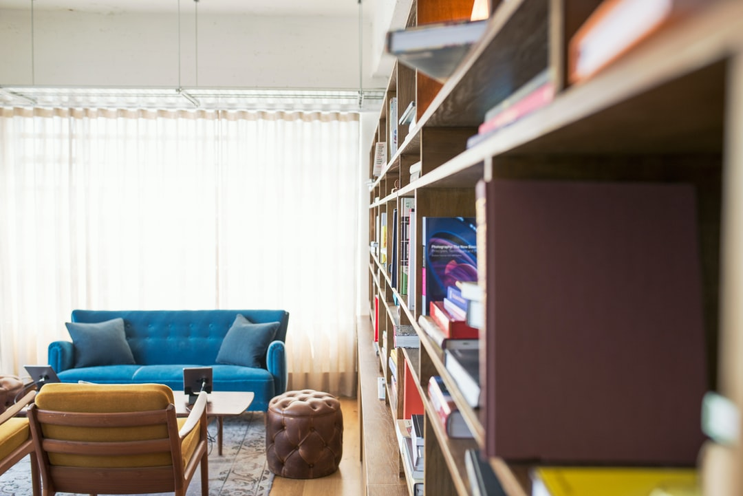 Bookshelf and blue couch