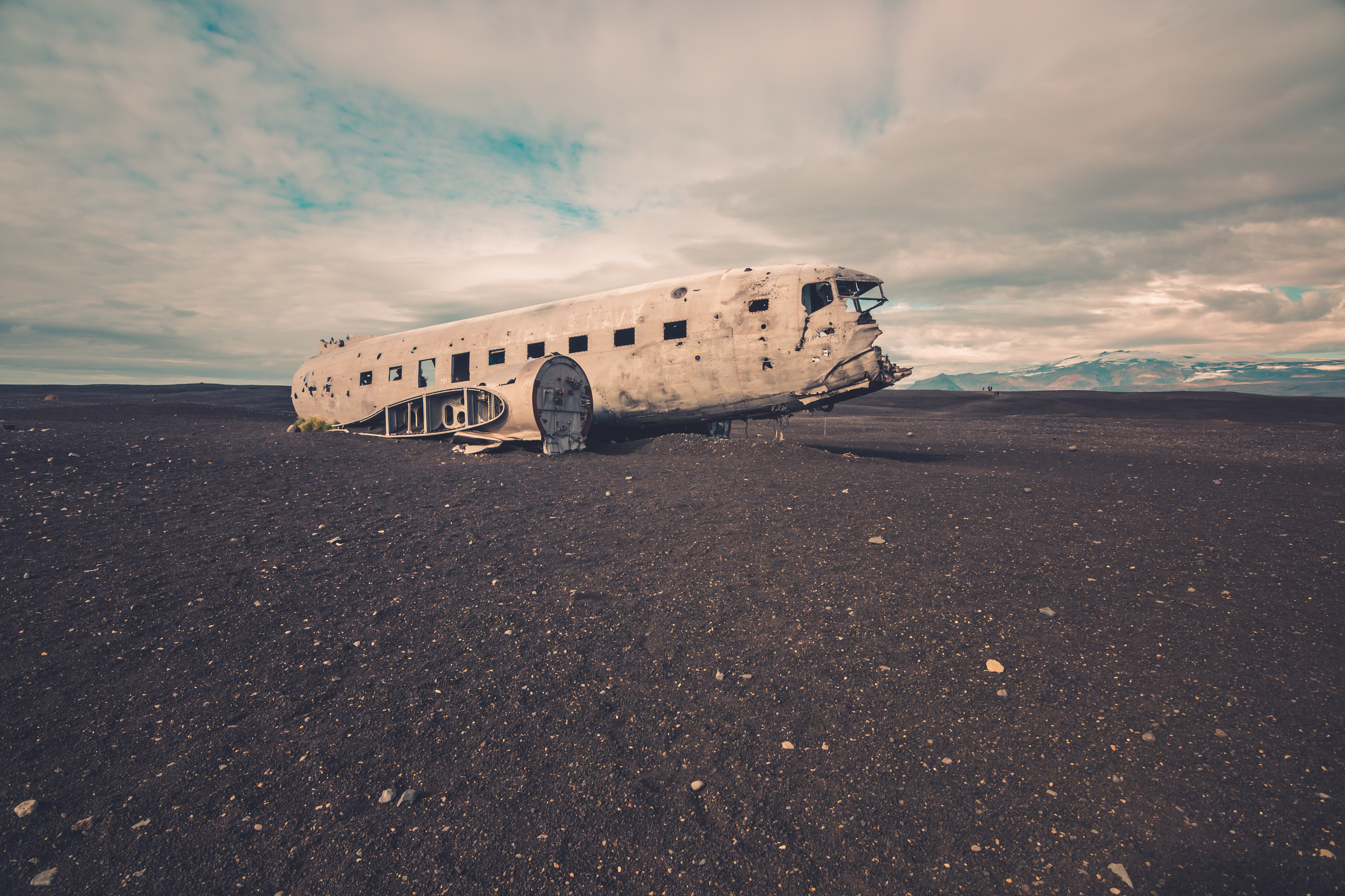 Old passenger airplane wreck on the beach in Iceland