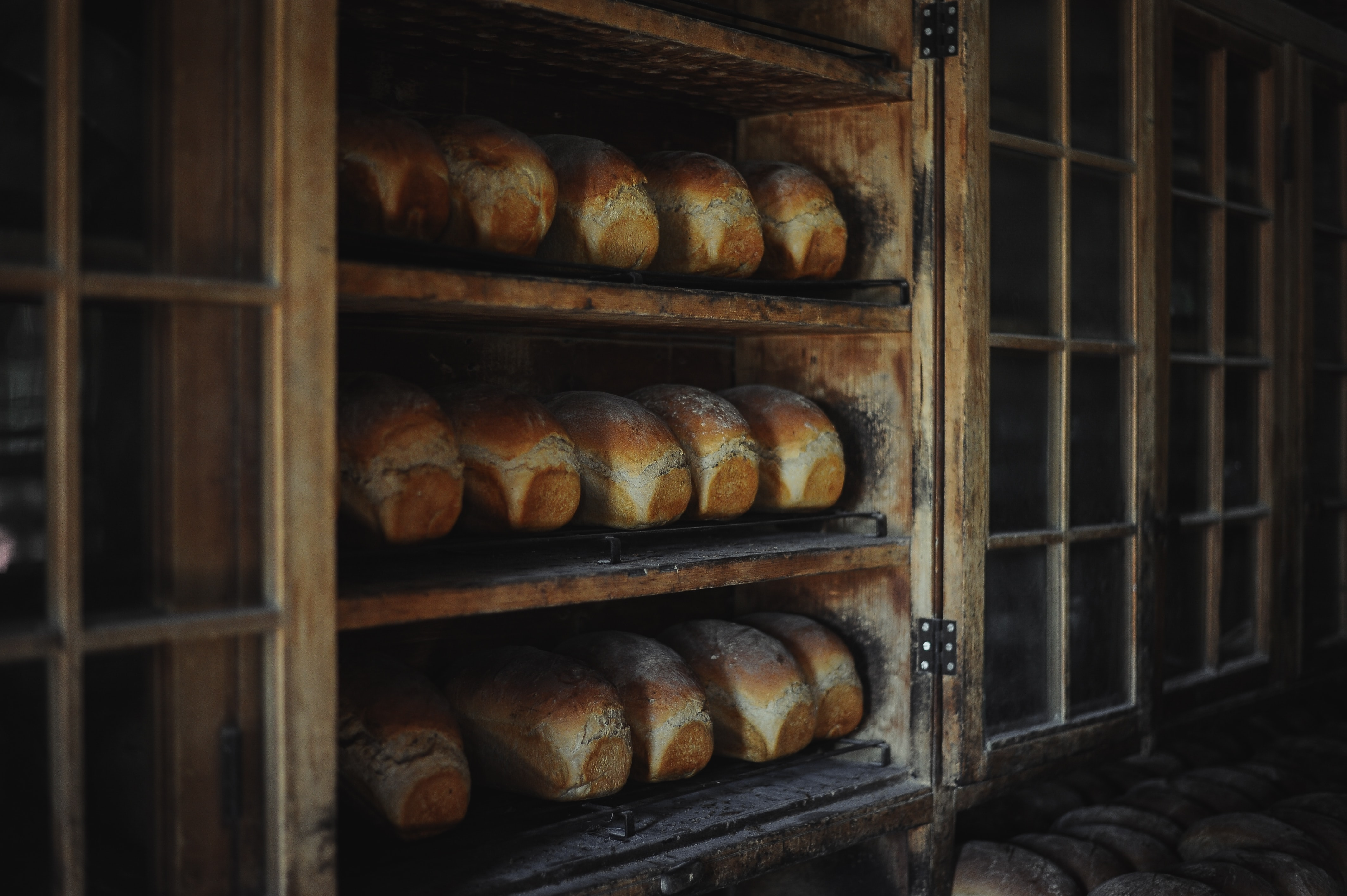 Loaves of baked bread in an old looking bakery on three wooden shelves with glass windows