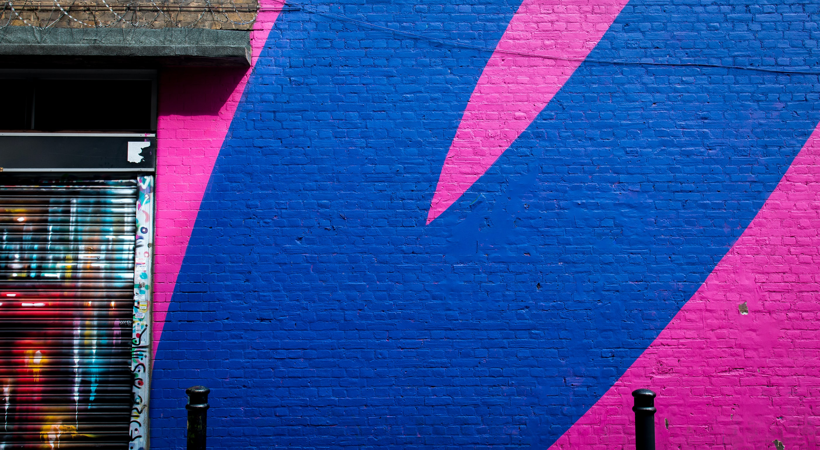 blue and pink commercial store wall