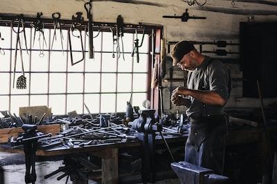 man inside tool shed craftsman zoom background