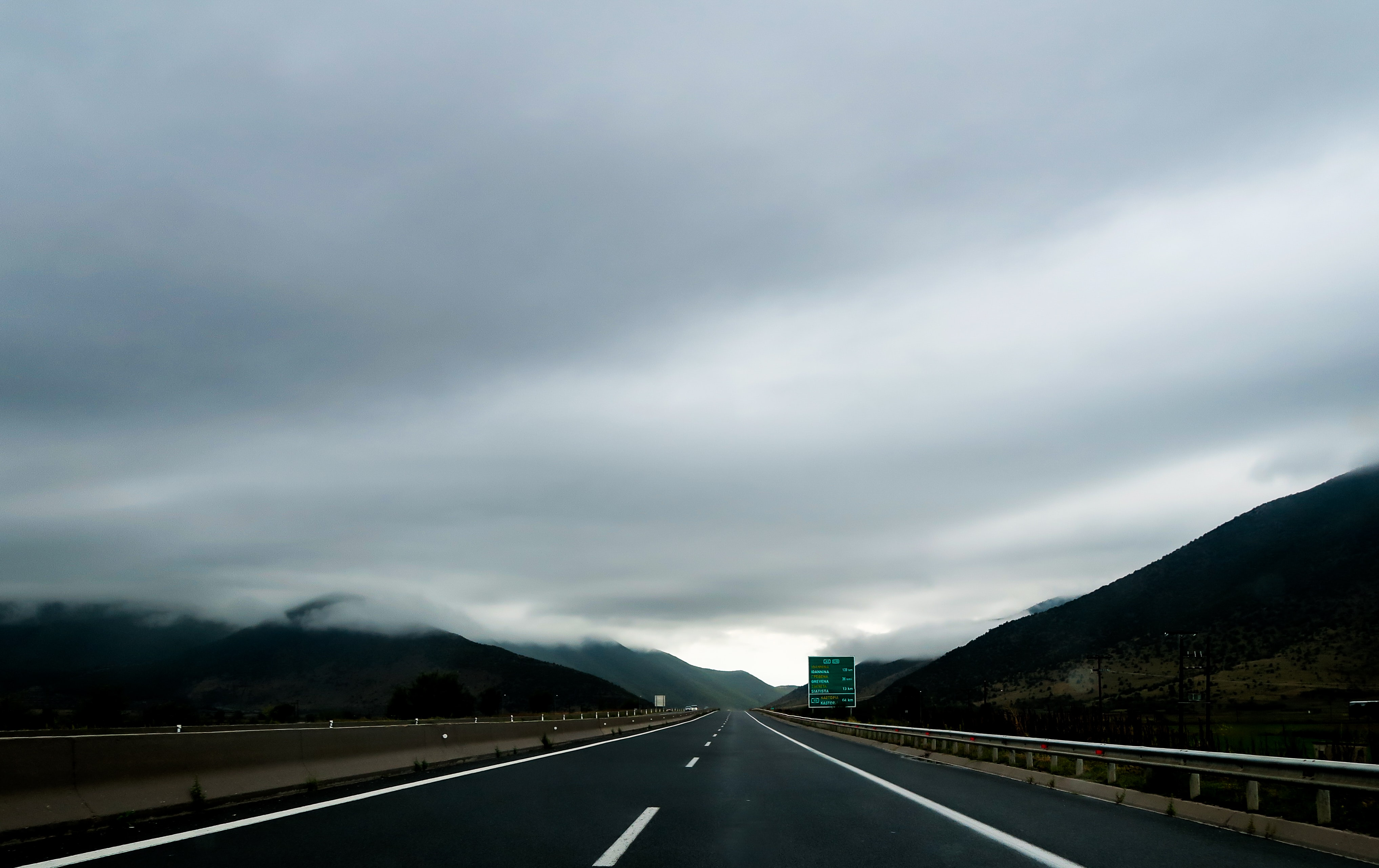 A cloudy overcast on top of a road in Egnatia, Albania