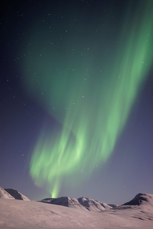 Green Northern Lights above the hills in Sauðárkrókur