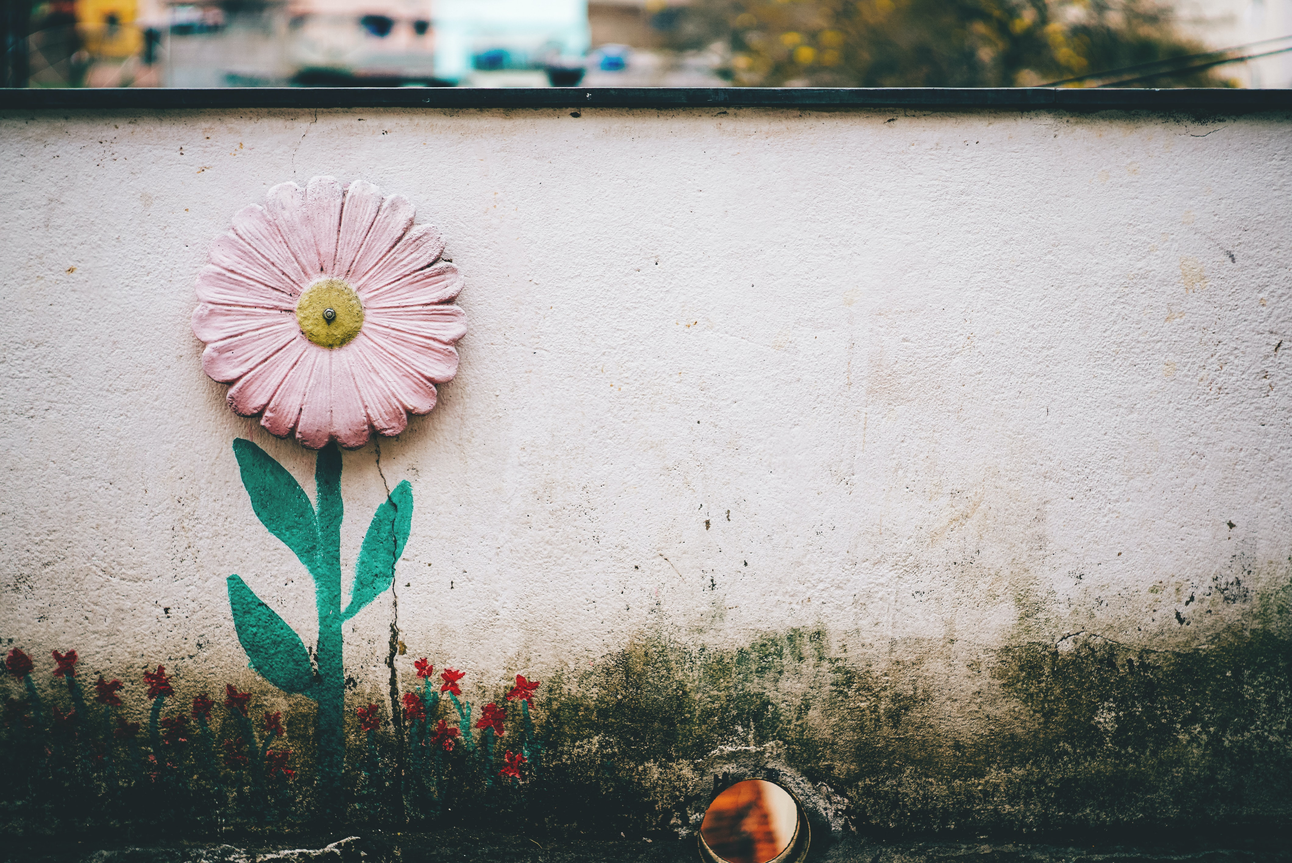 A pink daisy painted on a concrete wall