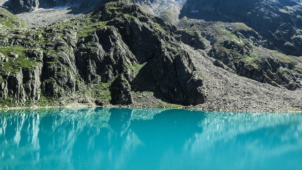 lake along body of mountain
