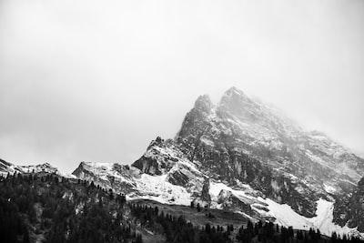 Silver mountain in fog
