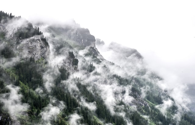 Rocky and foggy mountainside - Mürren, Switzerland @cherath14