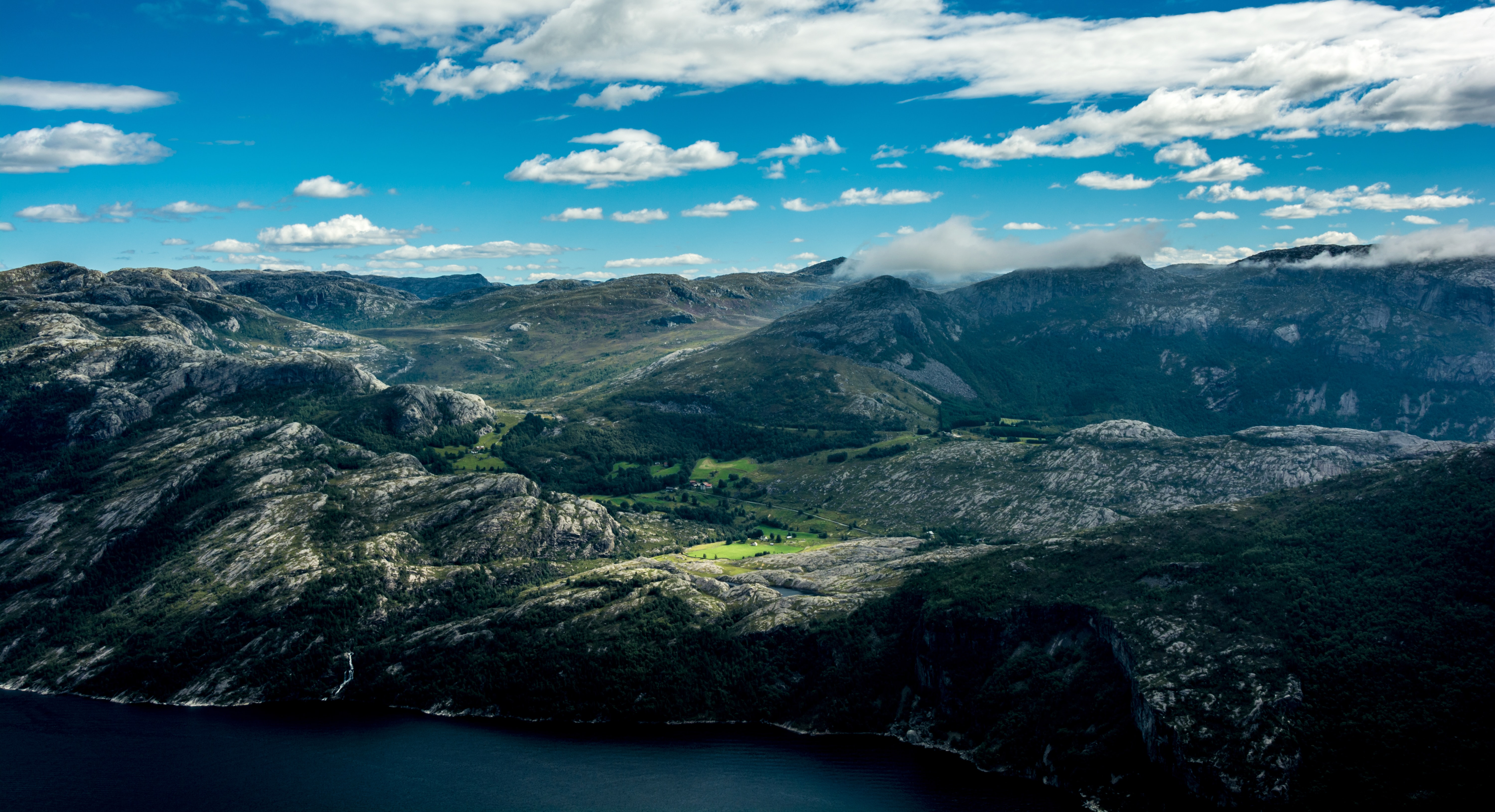 A small rural area on a rocky fiord in Lysefjorden