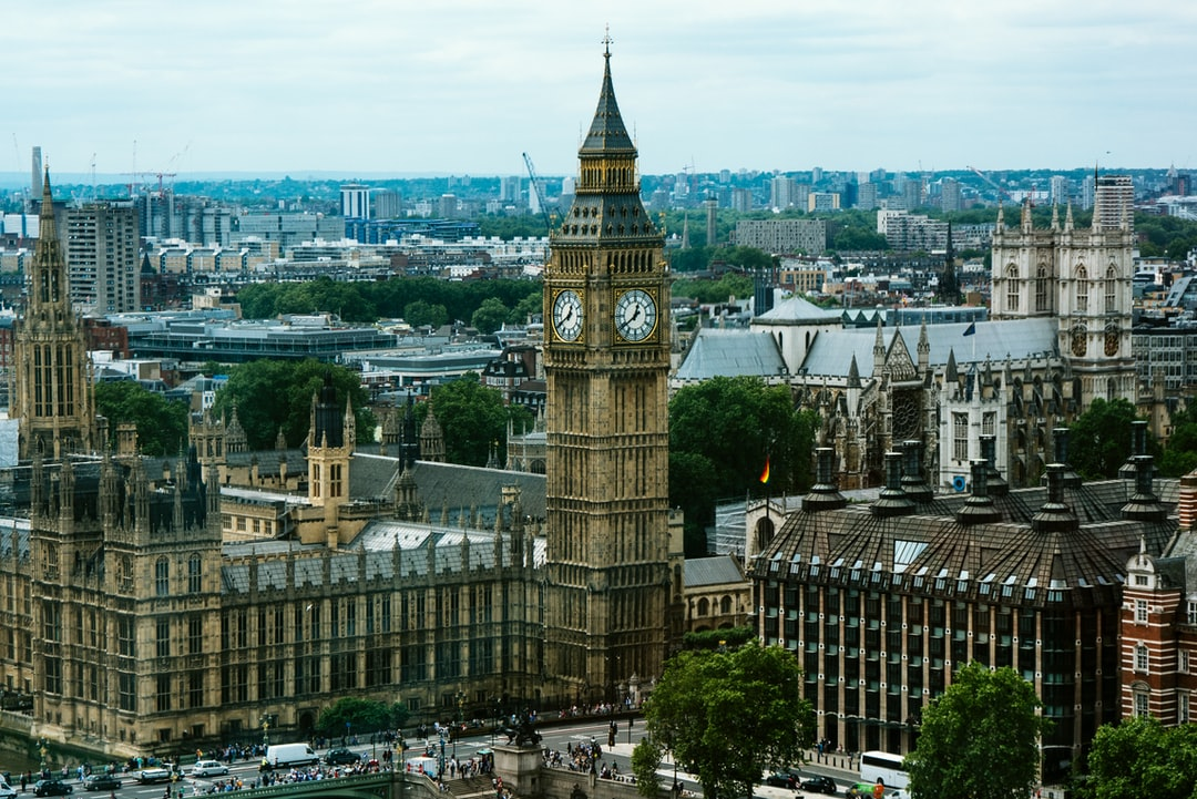 Aerial view of Big Ben and the Parliament building with the city scape in the background