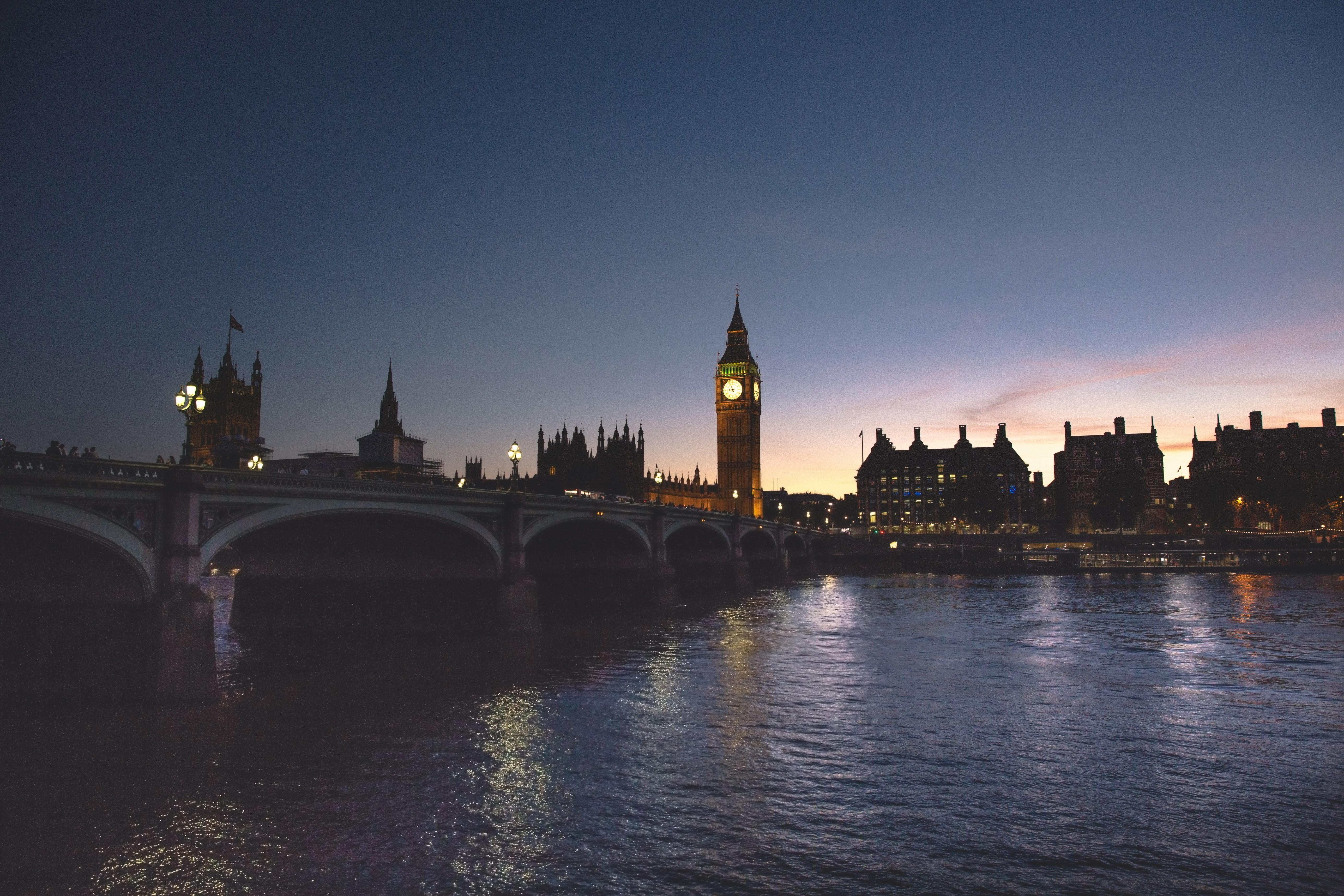 Shot of Westminster Bridge, Big Ben, and other landmarks in London shot from the river