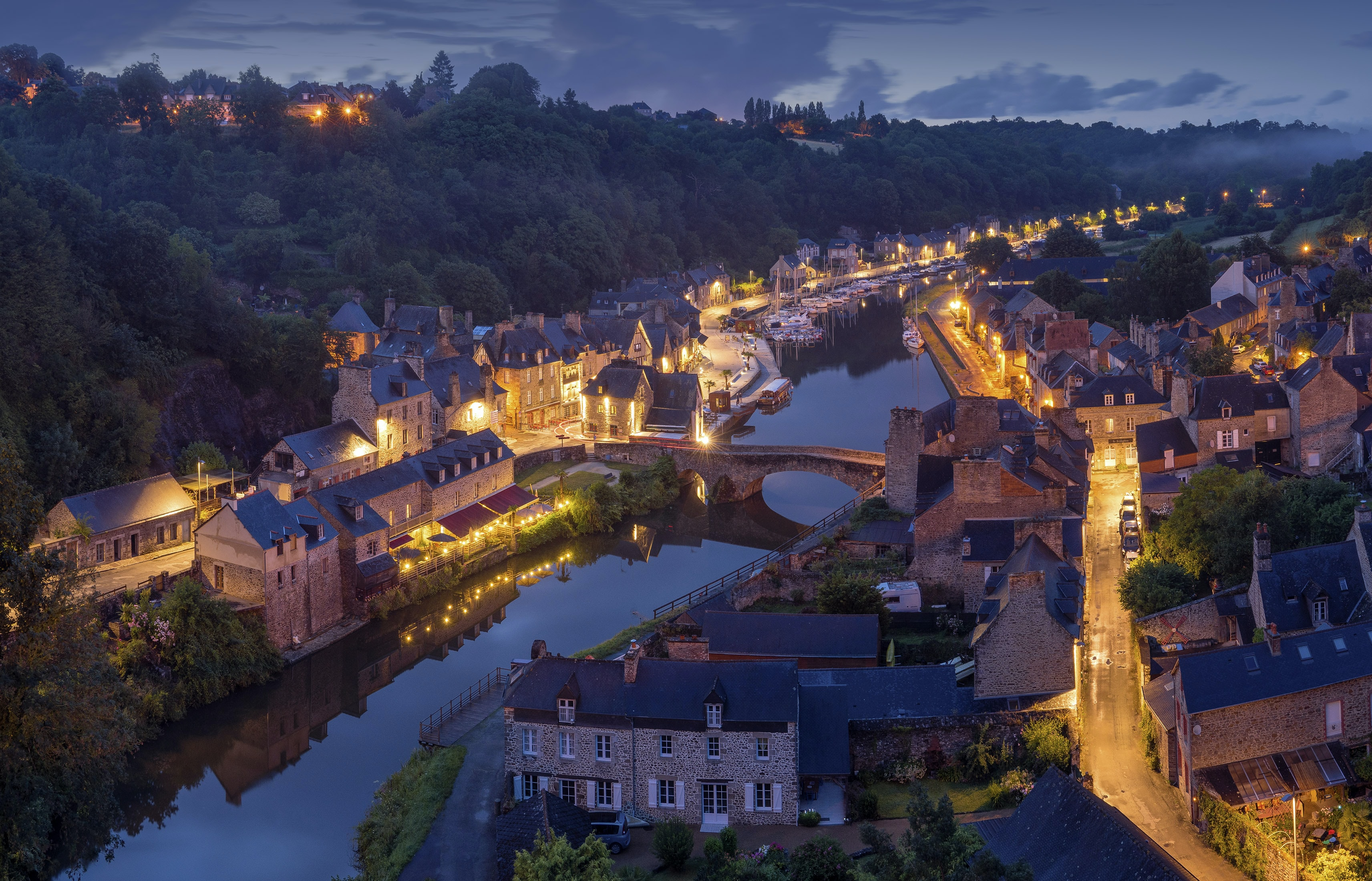 Aerial view of a charming European town on a small river